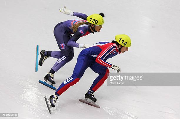 Sarah Lindsay of Great Britain and Katerina Novotna of Czech Republic skate in the women's 500m Short Track Speed Skating Semi Final during Day 5 of...