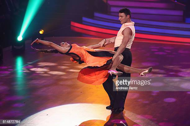 Sarah Lombardi and Robert Beitsch perform on stage during the 1st show of the television competition 'Let's Dance' on March 11 2016 in Cologne Germany