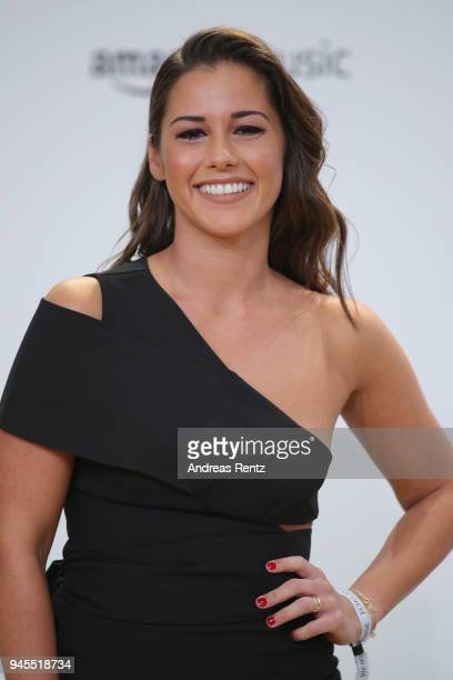 Sarah Lombardi arrives for the Echo Award at Messe Berlin on April 12, 2018 in Berlin, Germany.