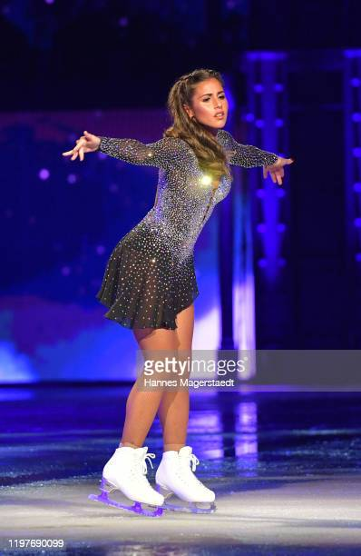 """Sarah Lombardi attends the """"Holiday On Ice"""" premiere at Olympiahalle on January 05, 2020 in Munich, Germany."""