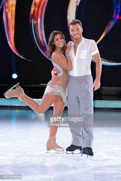 Sarah Lombardi Joti Polizoakis during a photo call for german Sat1 television show 'Dancing on Ice' at MMCStudios on January 4 2019 in Cologne Germany