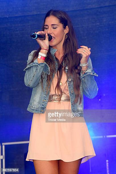 Sarah Lombardi performs at the Kinderhospiz Charity Open Air at Helvetiaparc on August 20 2016 in GrossGerau Germany