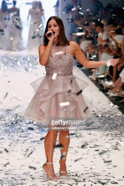 Sarah Lombardi performs at the runway at the Unique by Lexus show during Platform Fashion July 2018 at Areal Boehler on July 21 2018 in Duesseldorf...