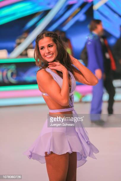 Sarah Lombardi poses after the 1st live show of the new dance competition television series 'Dancing on Ice' at MMC Studios on January 6 2019 in...