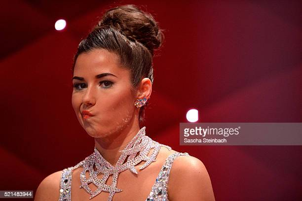 Sarah Lombardi reacts during the 5th show of the television competition 'Let's Dance' at Coloneum on April 15 2016 in Cologne Germany