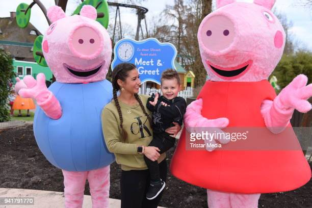 Sarah Lombardi with her son Alessio Lombardi and Caroline Beil with her daughter Ava Beil test the new kids area 'Peppa Pig Land 'at Heide Park...