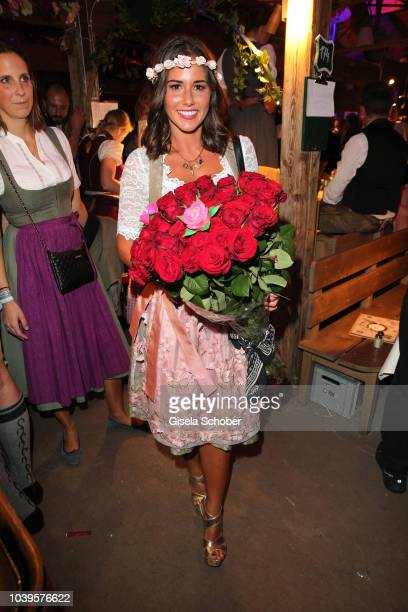 Sarah Lombardi with roses during the Oktoberfest 2018 Angermaier Wiesn at Kaeferschaenke at Theresienwiese on September 24 2018 in Munich Germany