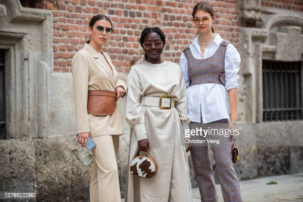 Sarah Lou, Jacqueline Zelwis and Lois Opoku seen outside Max Mara during the Milan Women's Fashion Week on September 24, 2020 in Milan, Italy.
