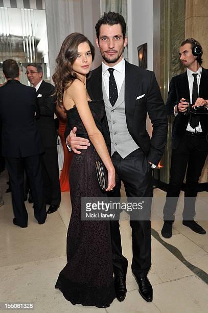 Sarah Macklin and David Gandi attend the Harper's Bazaar Woman of the Year Awards at Claridge's Hotel on October 31 2012 in London England