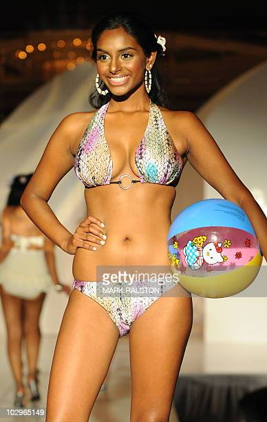 Sarah Makandura representing Sri Lanka models a swimsuit during the 22nd Annual Miss Asia USA beauty pageant preview event and fashion show in Los...