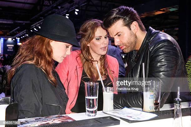 Sarah Maria Besgen Kerstin Linnartz and Jay Khan attend the Spirit of Istanbul by Yeni Raki on March 14 2015 in Berlin Germany