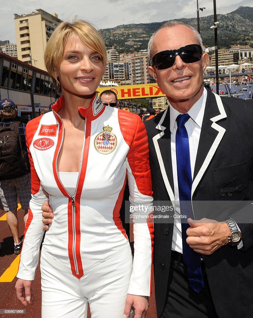 Sarah Marshall and designer Jean Claude Jitrois at the Monaco Grand Prix.