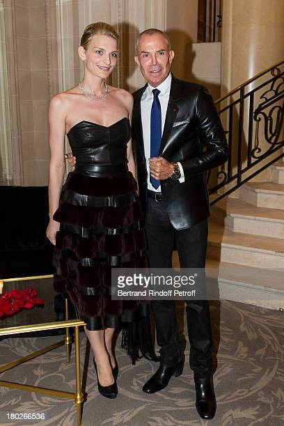 Sarah Marshall and Jean-Claude Jitrois attend a charity dinner hosted by the Claude Pompidou foundation at Four Seasons Hotel George V, on September...
