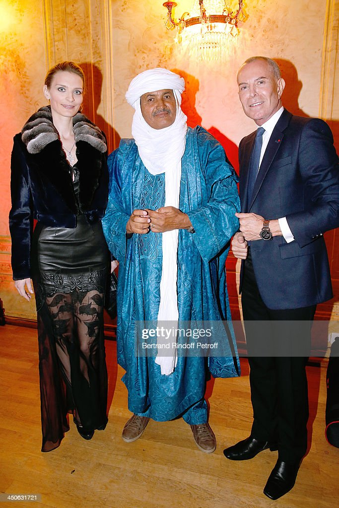 Sarah Marshall, CEO of O.N.G. 'Tidene' Mohamed Ixa and Jean-Claude Jitrois attend 'Les Puits du Desert' Charity Gala at Cercle des Armees on November 19, 2013 in Paris, France.