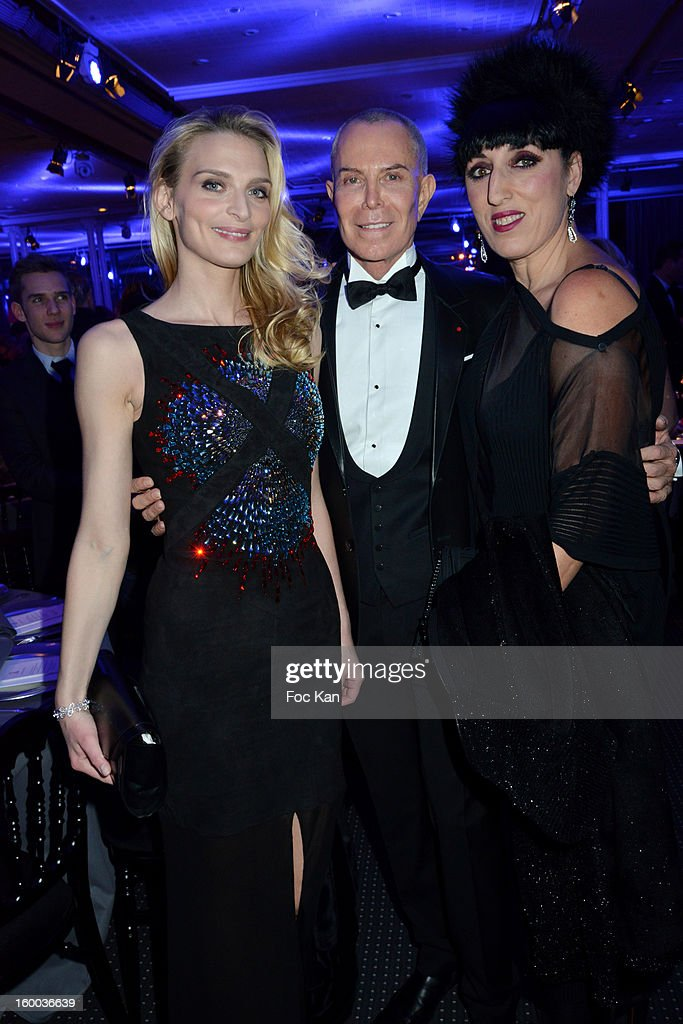 Sarah Marshall, Jean Claude Jitrois and Rossy de Palma attend the Sidaction Gala Dinner 2013 at Pavillon d'Armenonville on January 24, 2013 in Paris, France.