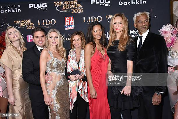 Sarah Marshall Jeremy Urbain from Top Model Belgium Laura Messia Ingrid Chauvin Cindy Fabre Adriana Karembeu and Satya Oblette attend the 'Top Model...