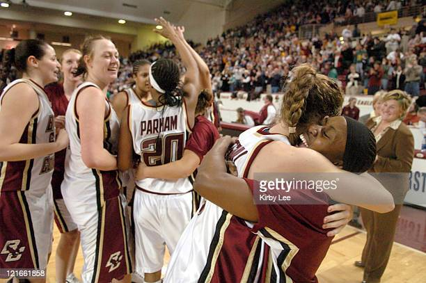 Sarah Marshall of Boston College embraces Chrstine Smith after 5148 victory over UCONN in Big East Conference women's basketball game at Conte Forum...