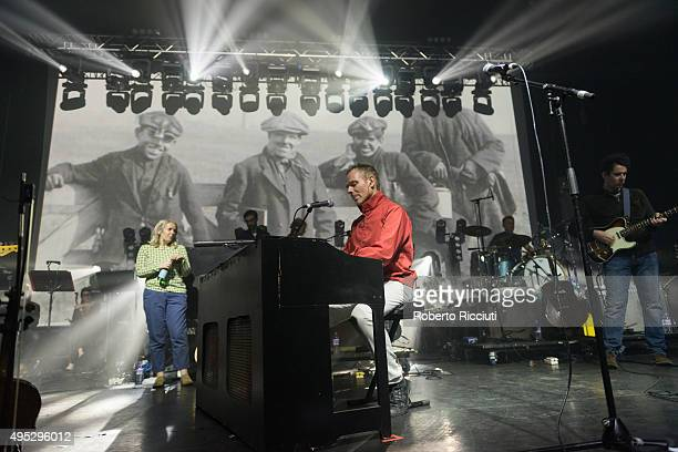Sarah Martin, Stuart Murdoch, Richard Colburn and Stevie Jackson of Belle and Sebastian performs on stage at Alhambra Theatre on November 1, 2015 in...