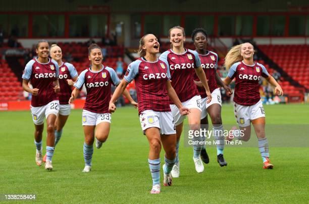 Sarah Mayling of Aston Villa celebrates scoring her teams first goal during the Barclays FA Women's Super League match between Aston Villa Women and...