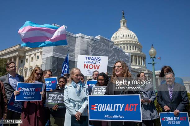 Sarah McBride National Press secretary of Human Rights Collation speaks on introduction of the Equality Act a comprehensive LGBTQ nondiscrimination...