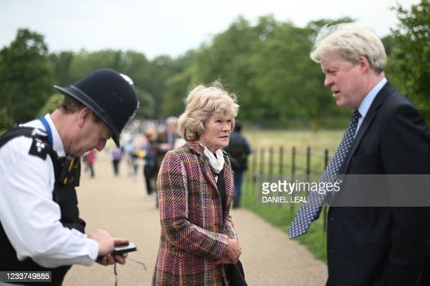 Sarah McCorquodale and Charles Spencer , siblings of Britain's Princess Diana arrive at Kensington Palace for the unveiling of a new statue to their...