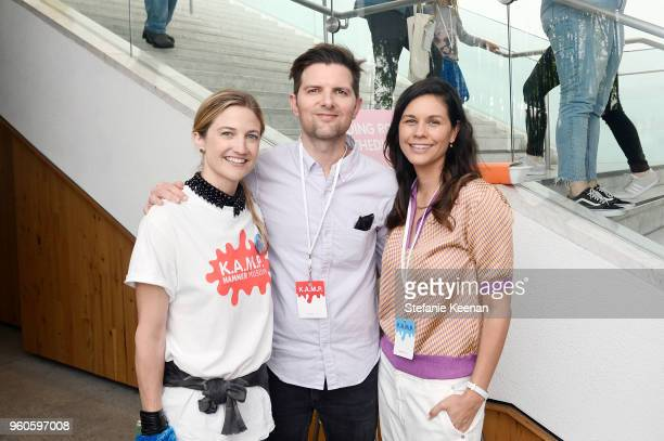 Sarah McHale Adam Scott and Naomi Scott attend Hammer Museum KAMP 2018 at Hammer Museum on May 20 2018 in Los Angeles California