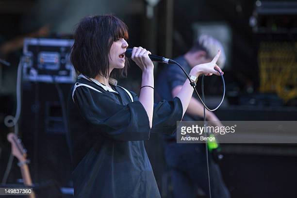 Sarah McIntosh and Hamish McIntosh of The Good Natured performs on stage during Y Not Festival which takes place in the Peak District on August 4,...