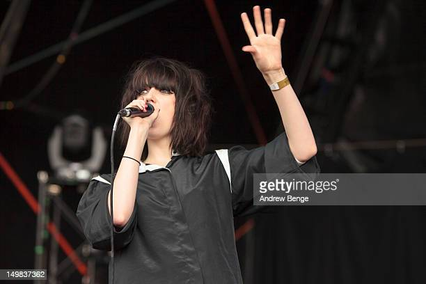 Sarah McIntosh of The Good Natured performs on stage during Y Not Festival which takes place in the Peak District on August 4, 2012 in Matlock,...