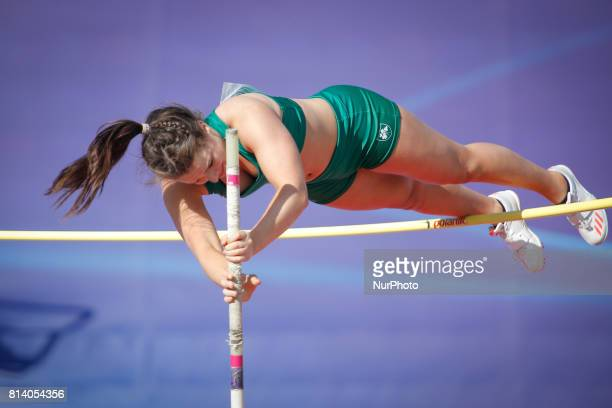 Sarah McKeever from Ireland competes in women's pole vault qualification round during the IAAF World U20 Championships at the Zawisza Stadium on July...