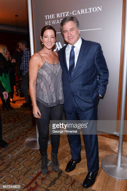 Sarah McLachlan and Don Cleary President Marriott Hotels of Canada attend the celebration of Marriott International's announcement of their Unified...