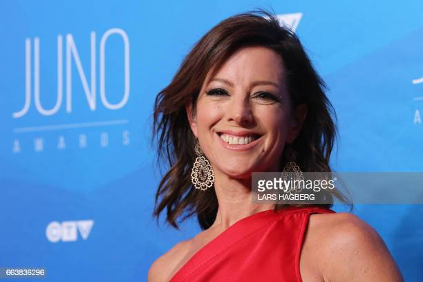 Sarah McLachlan arrives on the red carpet before the JUNO awards at the Canadian Tire Centre in Ottawa Ontario on April 2 2017 / AFP PHOTO / Lars...