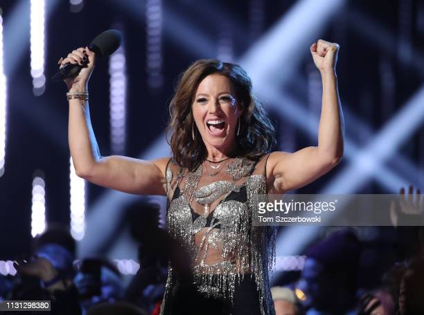 Sarah McLachlan introduces Corey Hart prior to his performance during the 2019 Juno Awards at Budweiser Gardens on March 17 2019 in London Canada