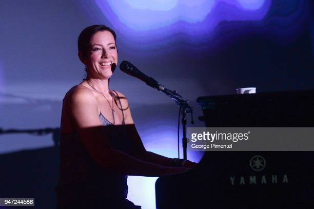 Sarah McLachlan performs at the celebration of Marriott International's announcement of their Unified Loyalty Program on April 16 2018 in Toronto...