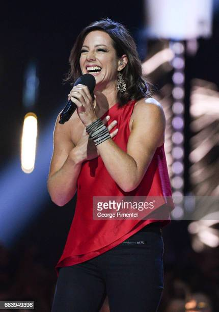 Sarah Mclachlan receives award at the 2017 Juno Awards at the Canadian Tire Centre on April 2 2017 in Ottawa Canada
