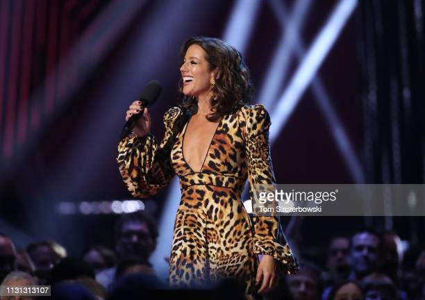 Sarah McLachlan speaks before presenting Corey Hart with an award for his induction into the Canadian Music Hall of Fame during the 2019 Juno Awards...