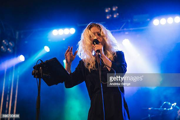 Sarah McTaggart of Transviolet performs on the Festival Republic Stage during day 2 of Leeds Festival 2016 at Bramham Park on August 27, 2016 in...