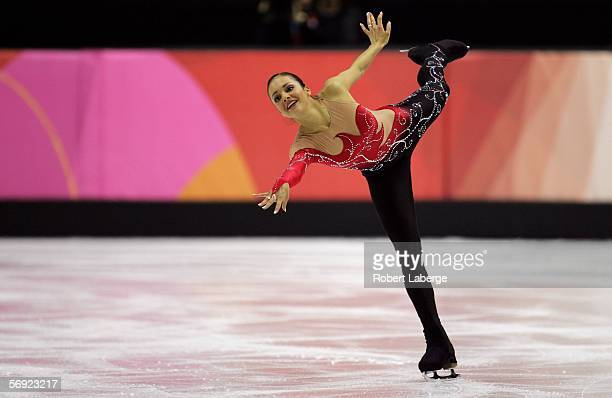 Sarah Meier of Switzerland performs during the women's Free Skating program of figure skating during Day 13 of the Turin 2006 Winter Olympic Games on...