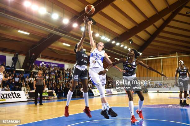 Sarah Michel of Montpellier and Valeriane Ayayi and Johane Gomis of Villeneuve d Asq during the women's french League final match between Montpellier...