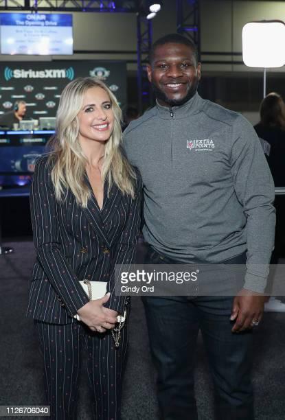 Sarah Michelle Gellar and LaDainian Tomlinson attend SiriusXM at Super Bowl LIII Radio Row on February 01 2019 in Atlanta Georgia