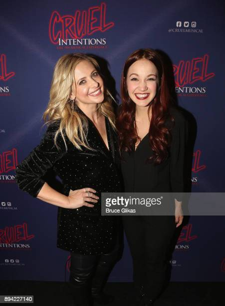 Sarah Michelle Gellar and Lauren Zakrin pose backstage at the new musical based on the 1999 film 'Cruel Intentions' at Le Poisson Rouge Theatre on...