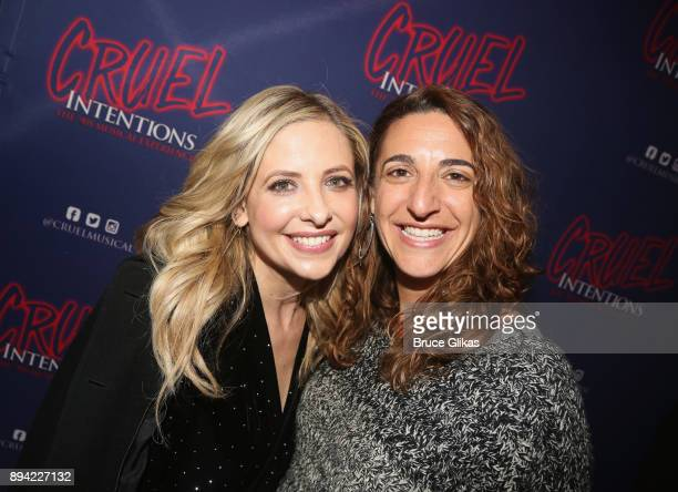 Sarah Michelle Gellar and Producer Eva Price pose backstage at the new musical based on the 1999 film 'Cruel Intentions' at Le Poisson Rouge Theatre...