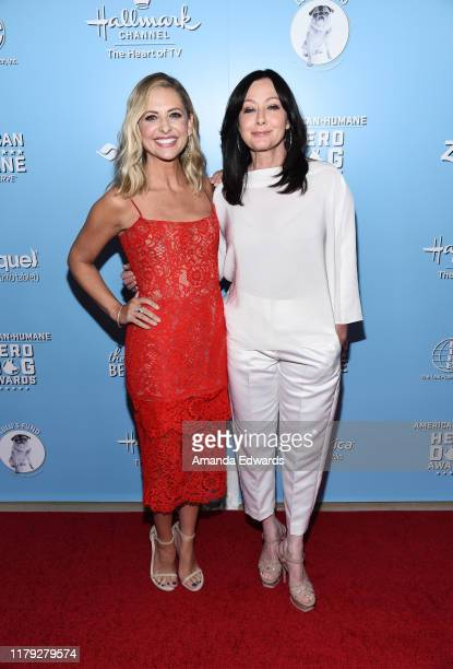 Sarah Michelle Gellar and Shannen Doherty arrive at the 9th Annual American Humane Hero Dog Awards at The Beverly Hilton Hotel on October 05 2019 in...