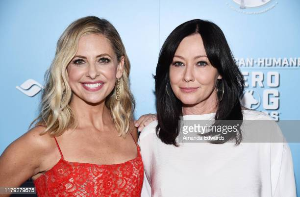 Sarah Michelle Gellar and Shannen Doherty arrive at the 9th Annual American Humane Hero Dog Awards at The Beverly Hilton Hotel on October 05, 2019 in...
