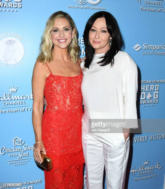 Sarah Michelle Gellar and Shannen Doherty attend the 9th Annual American Humane Hero Dog Awards at The Beverly Hilton Hotel on October 05, 2019 in...