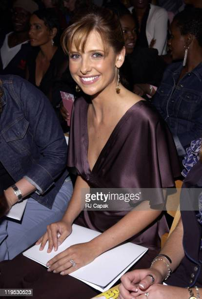 Sarah Michelle Gellar during MercedesBenz Fashion Week Spring 2004 Miguel Adrover Front Row at Bryant Park in New York City New York United States