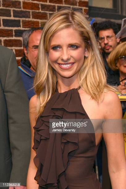 Sarah Michelle Gellar during Sarah Michelle Gellar Visits the 'Late Show with David Letterman' June 11 2002 at Ed Sullivan Theatre in New York City...