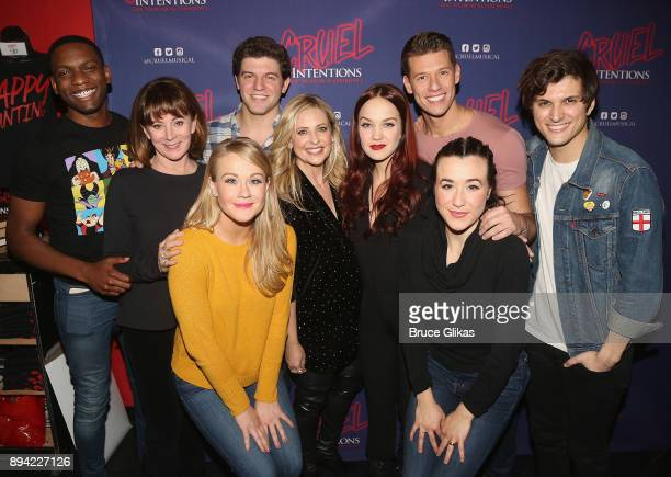 Sarah Michelle Gellar poses with the cast backstage at the new musical based on the 1999 film 'Cruel Intentions' at Le Poisson Rouge Theatre on...