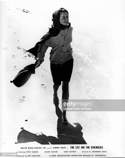Sarah Miles as Cass Langdon walks on the beach in a scene from the movie Time Lost and Time Remembered circa 1966