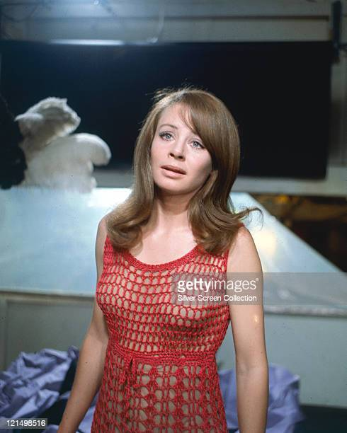 Sarah Miles British actress wearing a red macrame dress in a publicity still issued for the film 'BlowUp' United Kingdom 1966 The thriller directed...
