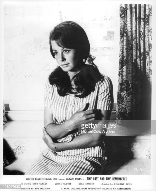 Sarah Miles sitting down and looking forward in a scene from the film 'Time Lost and Time Remembered' 1966